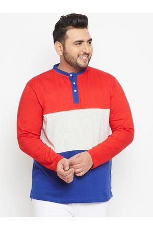 Bigbanana Plus Size Men Red Blue Colourblocked Bio Finish Henley Neck T-shirt