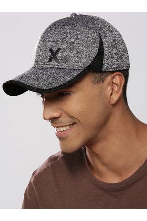 HRX Men Charcoal Grey Solid Training UV Guard & Flexible Fit Cap
