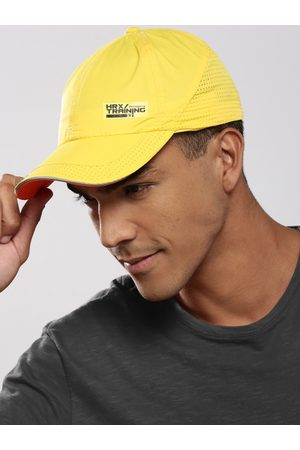 HRX Men Yellow Solid Training Dry Fit with Sweatband Cap