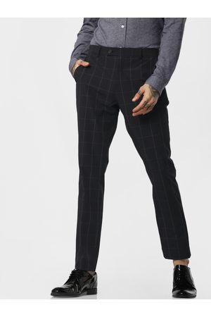 Jack & Jones Men Navy Blue & White Slim Fit Checked Formal Trousers