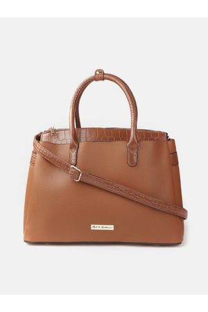 Mast & Harbour Bags - Brown Solid Handheld Bag with Croc Textured Detail