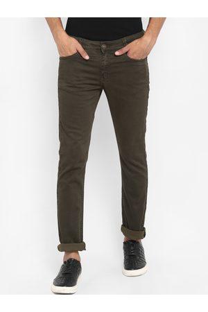 Mufti Men Olive Brown Slim Fit Solid Regular Trousers