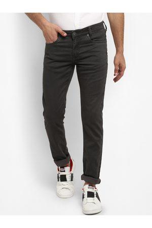 Mufti Men Grey Slim Fit Self Design Regular Trousers