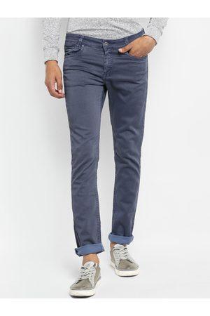 Mufti Men Blue Slim Fit Solid Regular Trousers