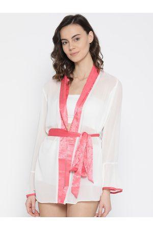 EROTISSCH Women White Solid Sheer Mini Robe