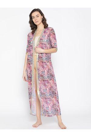 EROTISSCH Women Pink Printed Maxi Robe