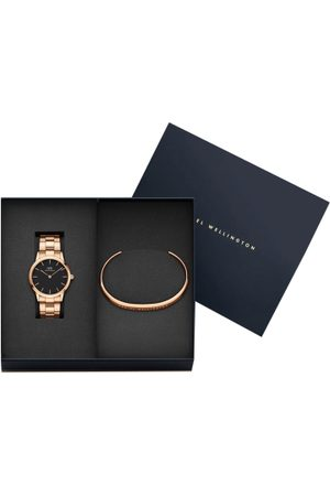 Daniel Wellington Unisex Set of 2 Rose Gold-Toned & Black Stainless Steel Watch With Cuff Bracelet