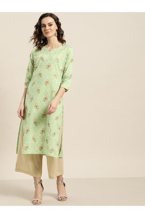 Sangria Women Green & Golden Printed Straight Kurta
