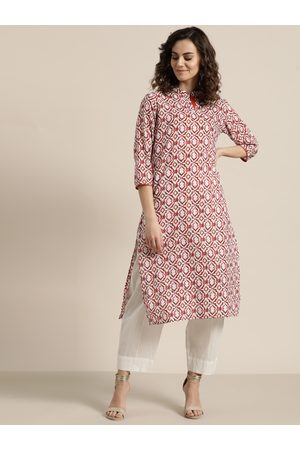 Sangria Women Off-White & Rust Printed Straight Kurta