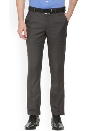 Louis Philippe Men Grey Slim Fit Solid Formal Trousers