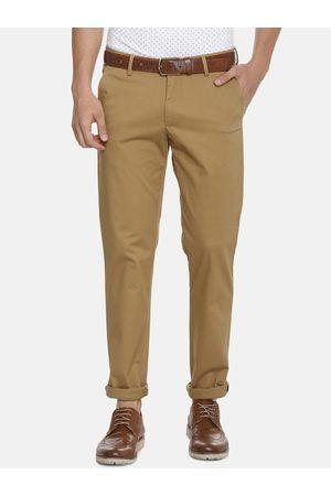 Louis Philippe Men Khaki Slim Fit Solid Regular Trousers
