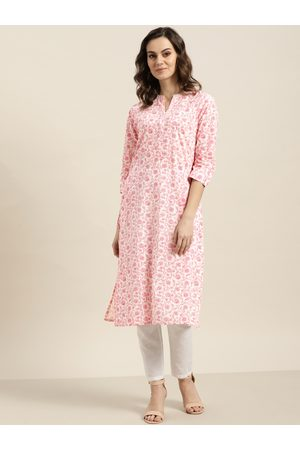 Sangria Women White & Pink Printed Straight Kurta