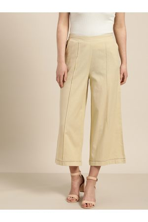 Sangria Women Beige Solid Straight Cropped Palazzos