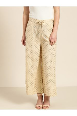 Sangria Women Cream-Coloured & Red Printed Straight Palazzos
