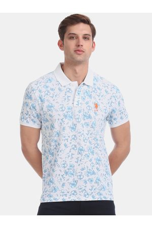 Ralph Lauren Men White & Turquoise Blue Printed Polo Collar T-shirt