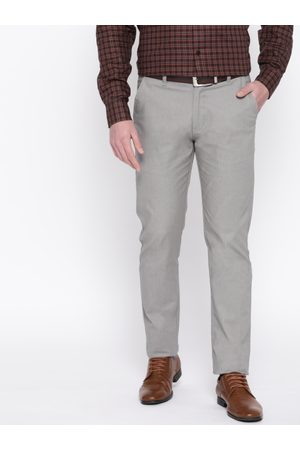 HANCOCK Men Grey Slim Fit Solid Formal Trousers