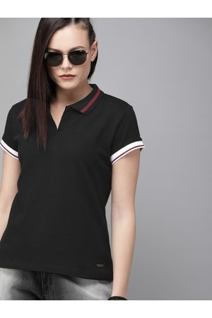 Roadster Women Black Solid Polo Collar T-shirt