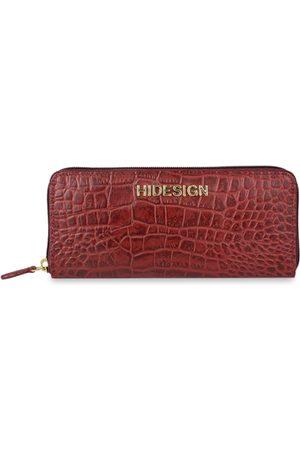 Hidesign Women Red Crocodile Skin Textured Leather Zip Around Wallet
