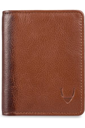 Hidesign Men Tan Brown Textured Leather Card Holder