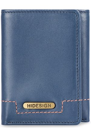 Hidesign Men Blue Solid Leather Two Fold Wallet