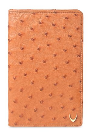 Hidesign Men Tan Brown Textured Real Ostrich With Horn Logo Plate Leather Passport Holder