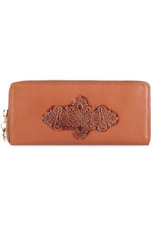 Hidesign Women Tan Brown Textured Leather Zip Around Wallet