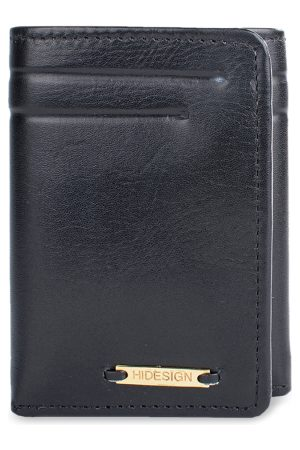 Hidesign Men Black Textured Three Fold Leather Wallet