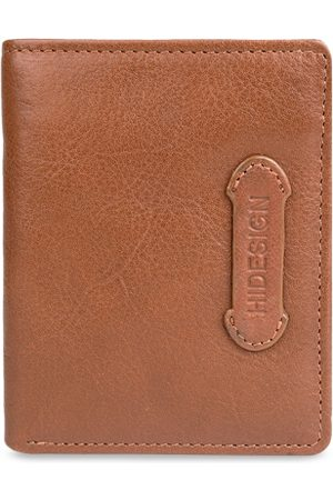 Hidesign Men Tan Brown Textured Two Fold Leather Wallet