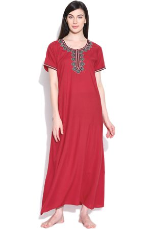Sand Red Embroidered Maxi Nightdress 4058