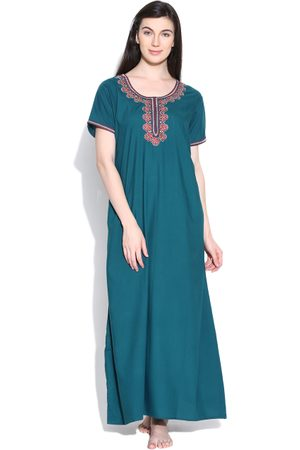 Sand Teal Blue Embroidered Maxi Nightdress 4058