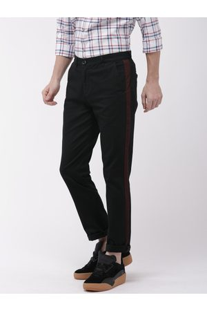 The Indian Garage Co Men Black Slim Fit Solid Chinos With Side Strip Detail