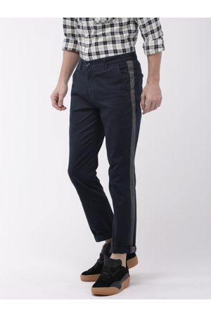 The Indian Garage Co Men Navy Blue Slim Fit Solid Chinos With Side Strip Detail