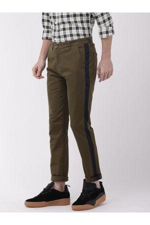 The Indian Garage Co Men Brown Slim Fit Solid Regular Trousers