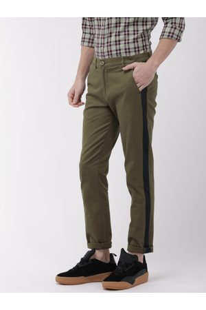 The Indian Garage Co Men Olive Green Slim Fit Solid Chinos With Side Strip Detail
