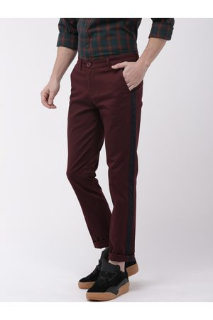 The Indian Garage Co Men Burgundy Slim Fit Solid Chinos With Side Strip Detail