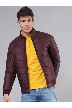 Highlander Men Burgundy Solid Padded Jacket