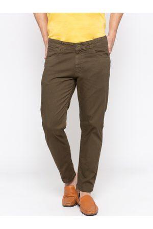 SPYKAR Men Olive Brown Slim Fit Solid Regular Trousers