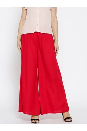 Lifestyle Women Red Wide Leg Solid Palazzos