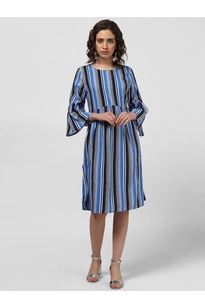 Harpa Women Blue Striped Fit and Flare Dress