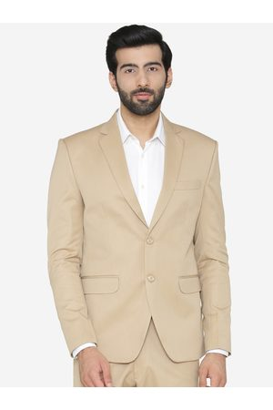 Wintage Men Beige Solid Tailored Fit Single-Breasted Formal Blazer