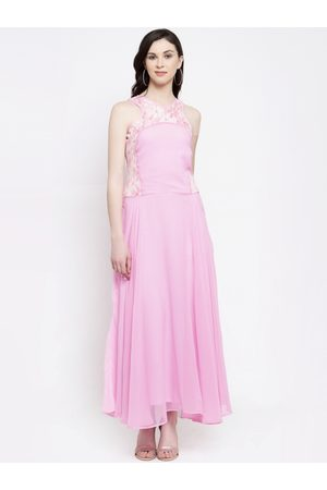 Karmic Vision Women Pink Solid Maxi Dress
