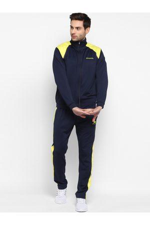 OFF LIMITS Men Tracksuits - Men Navy Blue & Yellow Colourblocked Tracksuit