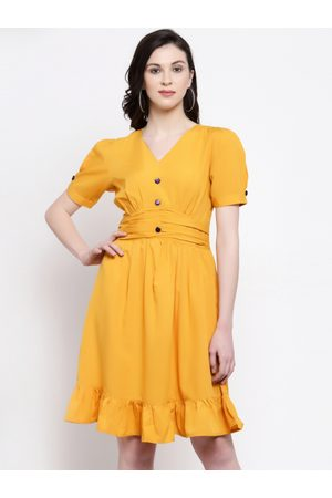 Karmic Vision Women Mustard Solid Fit and Flare Dress