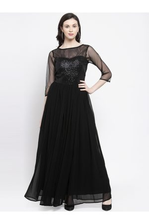 Karmic Vision Women Black Embellished Maxi Dress