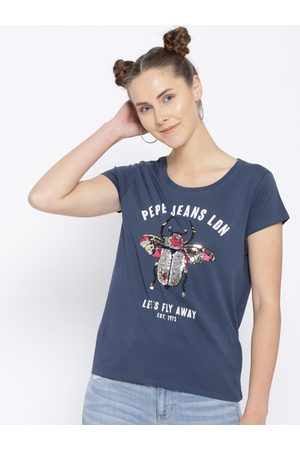 Pepe Jeans Women Navy Blue Printed Round Neck T-shirt