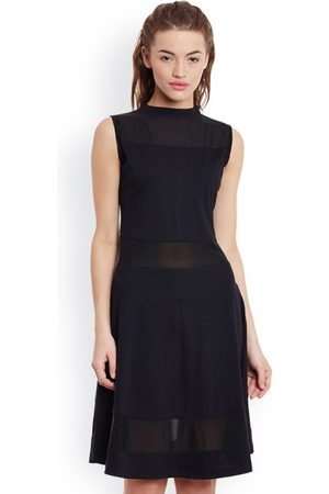 Miss Chase Women Black Solid A-Line Dress