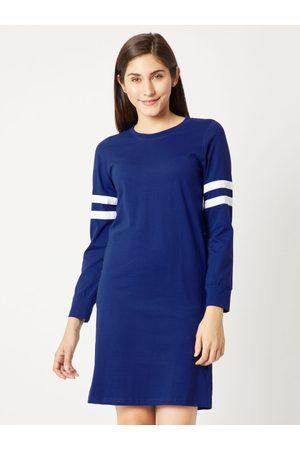 Miss Chase Women Blue Striped T-shirt Dress