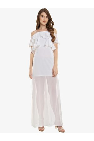 Miss Chase Women Off-White Solid Maxi Dress
