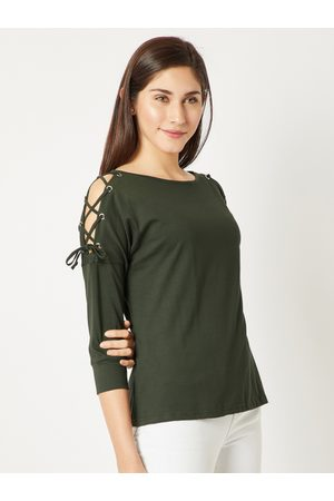 Miss Chase Women Olive Green Solid Top