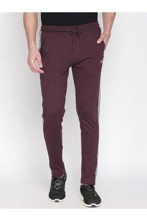 Pantaloons Men Burgundy Solid Slim-Fit Track Pants